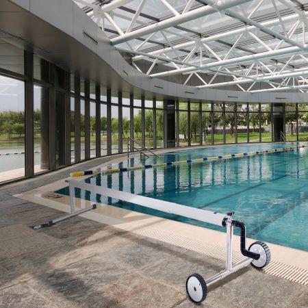 Pool Aufrollvorrichtung Fahrbarer Aufrollsystem für Solarabdeckplane 150 cm bis 570 cm Aluminium