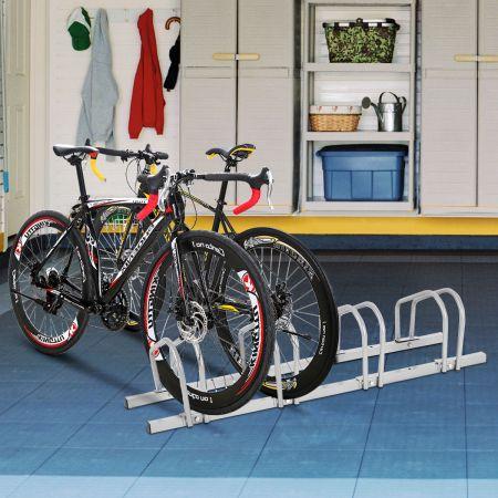 Costway Fahrradständer für 4 Räder Fahrradständer Mehrfachständer Stahl Bodenständer Aufstellständer Silber