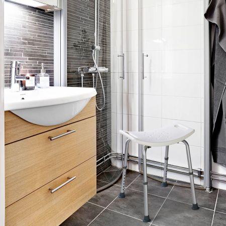 Duschstuhl Duschsitz Rechteckiger Badehocker Badestuhl Duschhocker Badhilfe Weiß