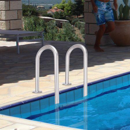 Poolleiter 3-stufig Sicherheitsleiter Schwimmbad 132 x 50 x 26 cm Edelstahl