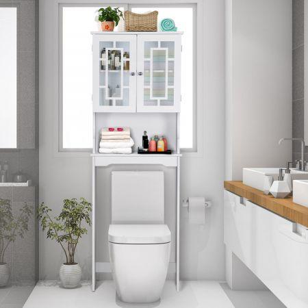 Costway Toilettenschrank Badezimmer Regal Toilettenregal Waschmaschinenschrank mit 3 Regalen Weiß 60 x 22 x 170,5 cm