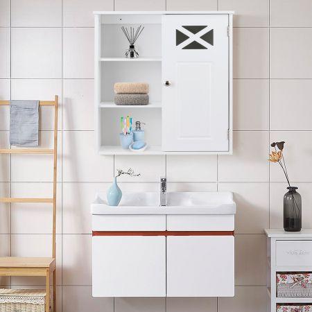 Costway Hängeschrank Verstellbarer Einlegeboden Badezimmer Wandschrank Weiß Holz 48,5x 17,5 x 61 cm