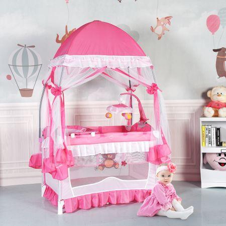 2 Ebenen Klappbares Babybett Kinderreisebett Laufstall mit Wickelauflage