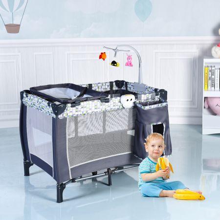 2 Ebenen Grau Klappbares Kinderreisebett Babybett mit Wickelauflage