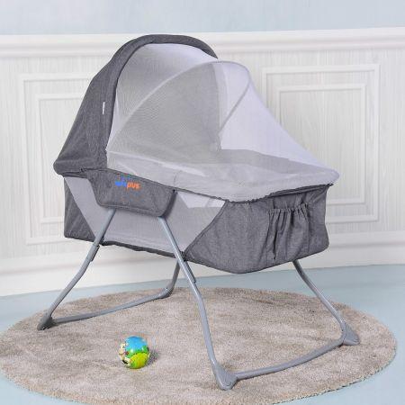 Costway Babywiege Klappbarer Stubenwagen Kinderbett mit Schaukelfunktion inkl. Moskitonetz Grau/Pink 93,5 x 69 x 100cm