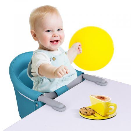 Baby Tischsitz Babysitz klappbar mit Befestigungsclip Hochstuhl Hellblau