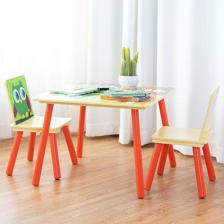 Costway 3 tlg. Kindersitzgruppe Kinderstühle und Tisch Maltisch Sitzgruppe Kindermöbel Holz
