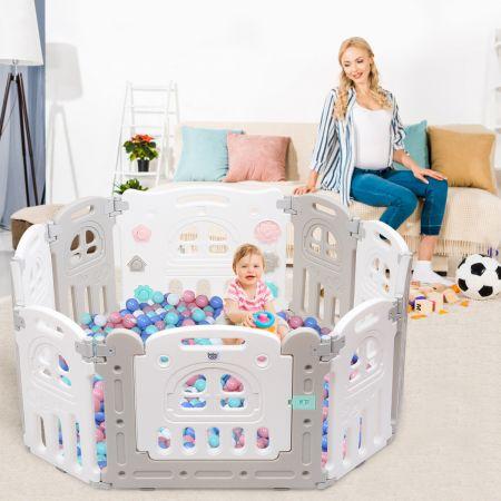 Costway Baby-Laufgitter 10 Panele Laufstall Absperrgitter Faltbares Aktivitätszentrum für Babys