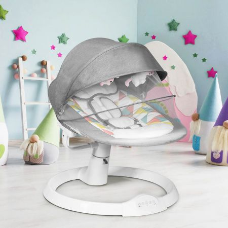 Costway Babywippe Elektrischer Baby Schaukelstuhl Baby Schaukel mit 5 Schaukelpositionen Grau