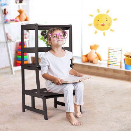 Costway 2 Stufen Lernturm Kinder Küchenhocker Küchenhocker mit Geländer Kleinkind-Hocker für Kinder Braun
