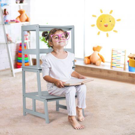 Costway Kinder Küchenhocker Küchenhocker mit Geländer 2 Stufen Lernturm Kinder Tritthocker aus Bambus Grau