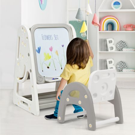 Costway 2 in 1 Kinder-Kunststaffelei doppelseitige magnetische Tafel Kinder Staffelei & Kindersitzgruppe Grau