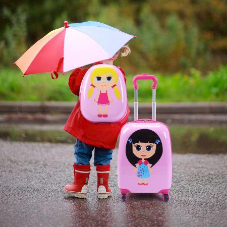 Costway 2 tlg Kinderkoffer + Rucksack Kofferset Reisegepäck Rosa