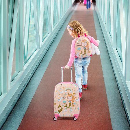 Costway Kindergepäck Meerjungfrau Reisekoffer Kinderkoffer Set mit Rucksack Rosa