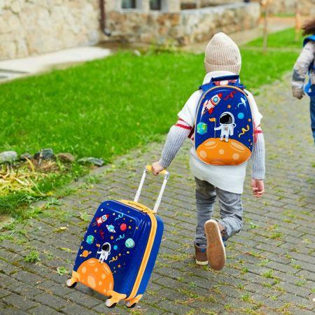 Costway Kindergepäck Astronaut Reisekoffer Kinderkoffer Set mit Rucksack Blau