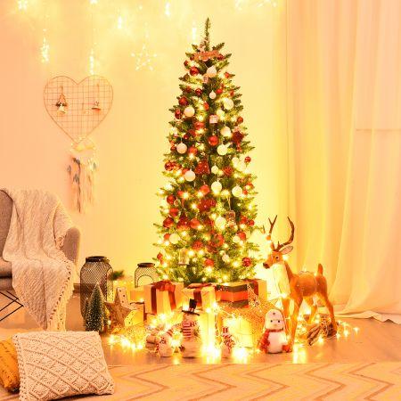 COSTWAY 180 cm schmaler Weihnachtsbaum mit warmweißen LEDs, künstlichen Nadeln faltbar mit Metallständer Grün