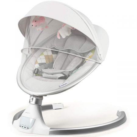 Costway Elektrischer Baby Schaukelstuhl mit Abnehmbarem Dach 71 x 60 x 70 cm Beige