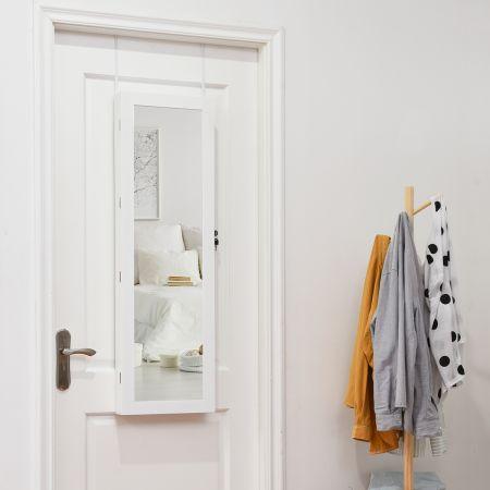 Costway LED-Schmuckschrank abschließbar Ankleidespiegel Schmuckschrank zum Aufhängen an der Wand oder Tür 37 x 8,5 x 120 cm Weiß