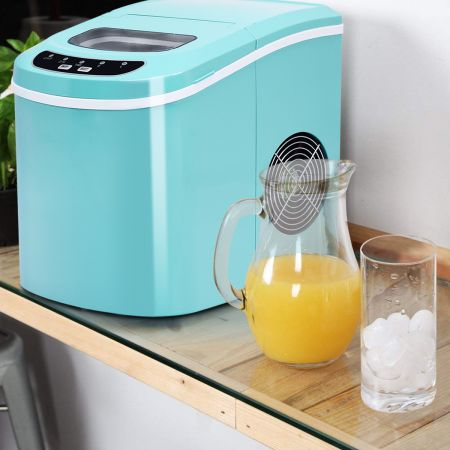 Costway Eiszubereiter Maschine Tragbare Eismaschine mit 2,2 L Wassertank 24 x 33 x 36 cm Grün