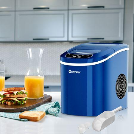 Costway Tragbare Eismaschine mit 2,2 L Wassertank Eismaschine 24 x 33 x 36 cm Blau