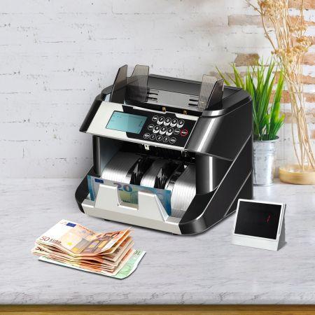 Costway Geldzähler mit Echtheitsprüfung Banknotenzähler Geldscheinzähler für Euro