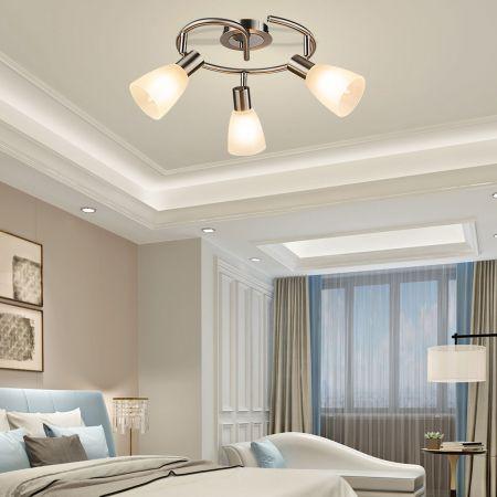 LED Deckenleuchte drehbar Deckenlampe mit 3 Leuchten schwenkbare Leuchten Decken-Strahler 9W Silber