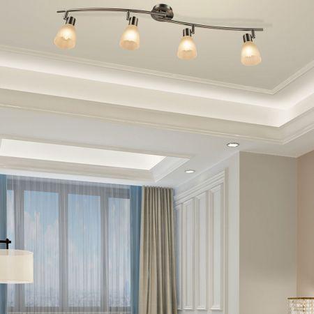 LED Deckenleuchte drehbar Deckenlampe mit 4 Leuchten schwenkbare Leuchten Decken-Strahler 9W Silber