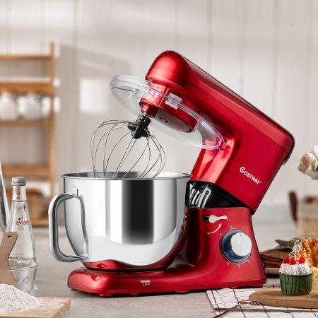 Costway 1400W Elektrischer Standmixer Küchenmaschine mit kippbarem Kopf 37 x 19 x 33 cm Rot