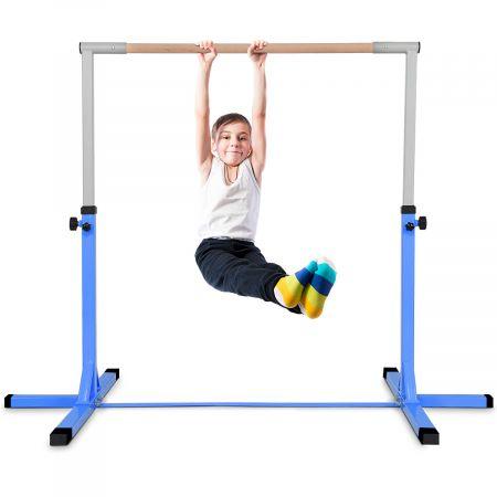 Costway Gymnastik Turnreck Höhenverstellbare Turnstangen Belastbare Reckstange Rosa/Blau