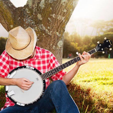 Costway 5-saitiges Banjo mit 3 Plektren Braun Holz 33,5 x 10,5 x 97 cm