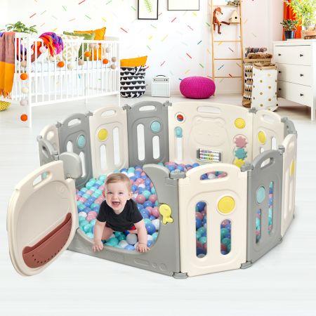 Costway Faltbares Laufgitter mit 12 Panels Baby Laufstall tragbarer Spiellzaun
