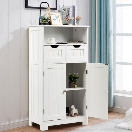 Costway Badschrank Badezimmer Schrank mit höhenverstellbarer Ablage Freistehend Badkommode Weiß