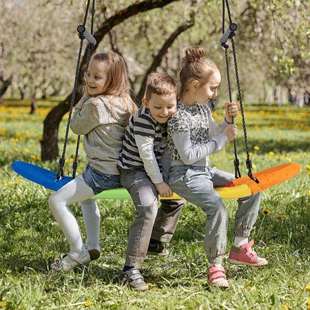 Costway Nestschaukel Kinder Baumschaukel mit 100-160cm verstellbaren Seil Hängeschaukel Bunt 123x45cm