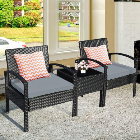 Costway 3-teiliges Terrassen-Set Outdoor-Rattan-Set mit Sitzkissen & Couchtisch modernes Möbel-Set Grau