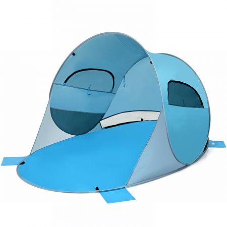 Costway Pop Up Strandmuschel 3-4 Personen Strandzelt Sonnenschutz Wurfzelt für Outdoor Blau