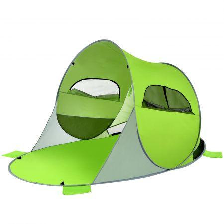 Costway Großes Pop Up Strandzelt faltbarer Strandmuschel 3-4 Personen Strandzelt Sonnenschutz Wurfzelt Grün