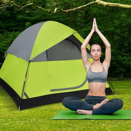 Costway Doppellagiges Familien-Campingzelt Kuppelzelt winddicht 210 x 210 x 160 cm Grün