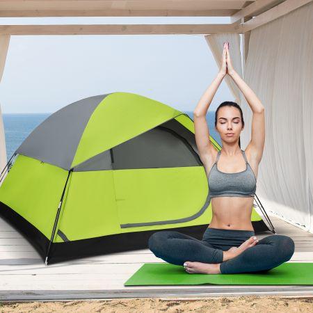 Costway Campingzelt mit wasserabweisendem Oxford-Stoff Doppelschicht 212 x 152 x 122 cm Grün