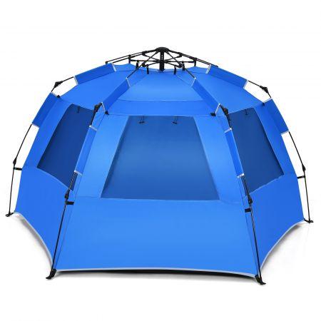 Costway Pop Up Strandzelt für 3-4 Personen UPF 50+ Sonnenschutz Campingzelt 252 x 127 x 132 cm Blau