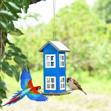 Costway Wildvogel-Futterautomat Hängende Vogelfutterstation Vogelhaus-Futterautomat Futterstationen 26x12x12cm Blau