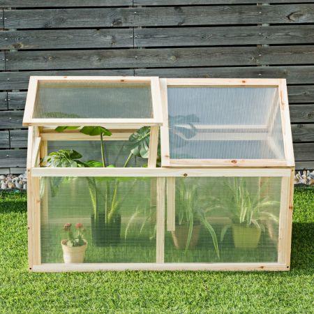 Kleines Kaltgewächshaus aus Holz Erhöhter Schutz für Blumenbeete im Garten 100 x 53 x 71 cm