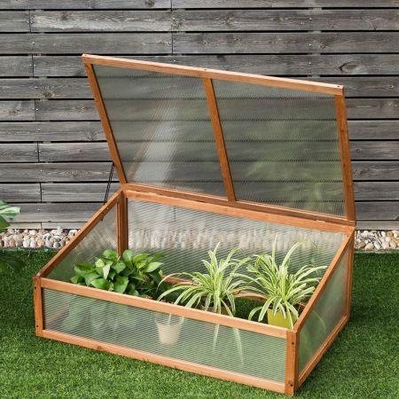 Kleines Kaltgewächshaus aus Holz Schutz für Blumenbeete im Garten oder auf der Terrasse 100 x 65 x 40 cm