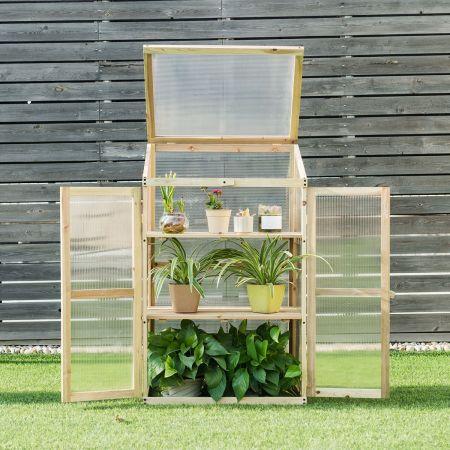 Kleines Kaltgewächshaus aus Holz 3-Ebenen Schutz für Blumenbeete im Garten 60 x 45 x 100 cm