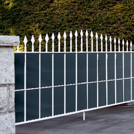 Costway PVC Zaunblende mit 20 Befestigungsclips Sichtschutzstreifen Abdeckung Sichtschutz 35 m x 19 cm Dunkelgrau