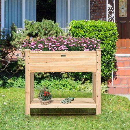 Costway Gartenhochbeet Holz-Hochbeet mit Beinen Pflanztrog aus Holz Pflanzbeet groß mit Ablage 86 x 46 x 76 cm