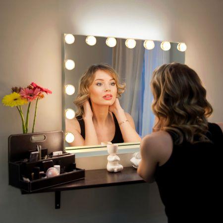Costway Schminkspiegel mit 15 LED Beleuchtung Spiegel 3 Lichtfarben Kosmetikspiegel