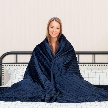 Costway Gewichtsdecke Schwere Decke Beschwerte Decke mit Bezug Baumwolle Dunkelgrau