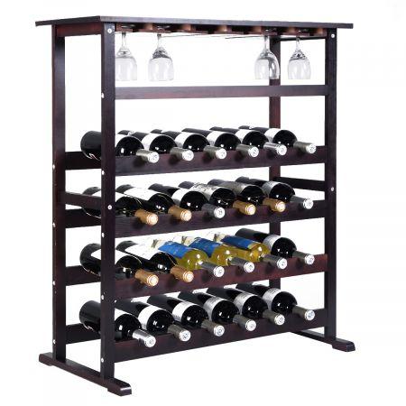 Weinregal aus Holz Flaschenregal Weinständer 24 Flaschen Holzregal Weinschrank