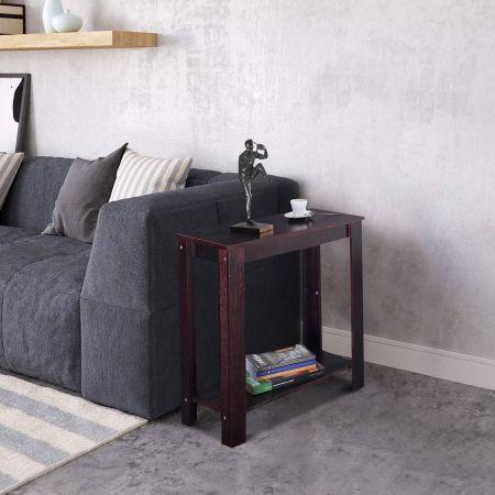 Costway Beistelltisch Couchtisch Wohnzimmertisch Telefontisch Schwarz Holz 60 x 30 x 61 CM