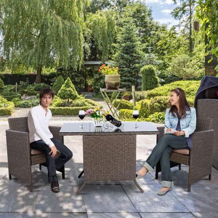 Costway Poly Rattan Gartengarnitur Garten Lounge inkl. Glasplatte und Sitzkissen Braun